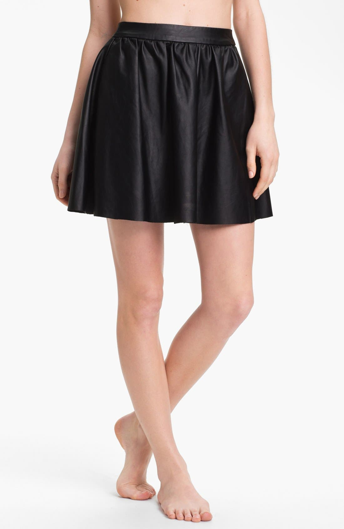 Alternate Image 1 Selected - Elan Faux Leather Cover-Up Skirt
