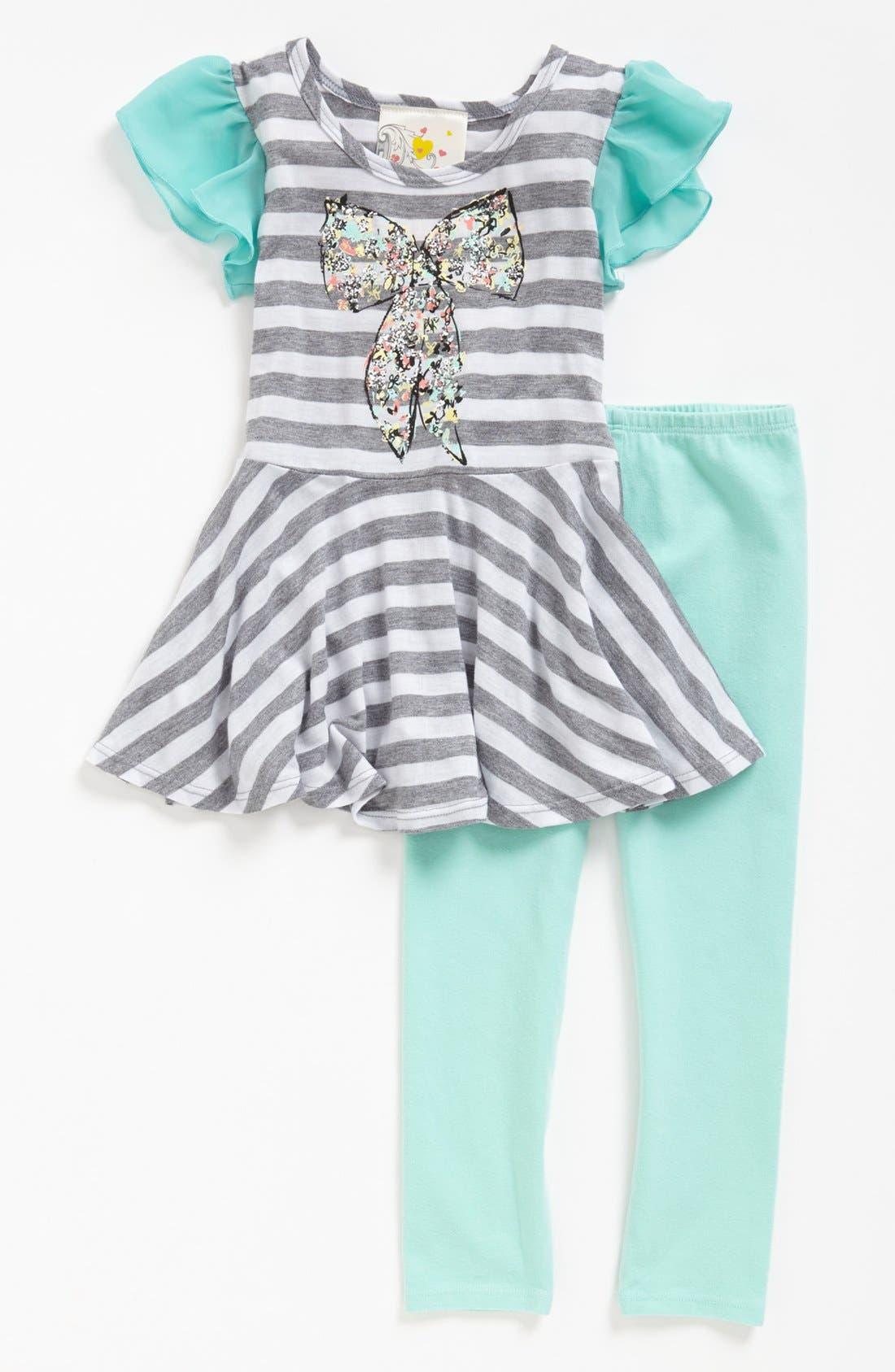 Main Image - Jenna & Jessie 'Bow' Dress & Leggings (Toddler Girls)