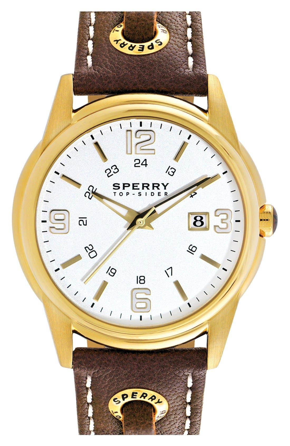 Main Image - Sperry 'Preston' Round Leather Strap Watch, 42mm