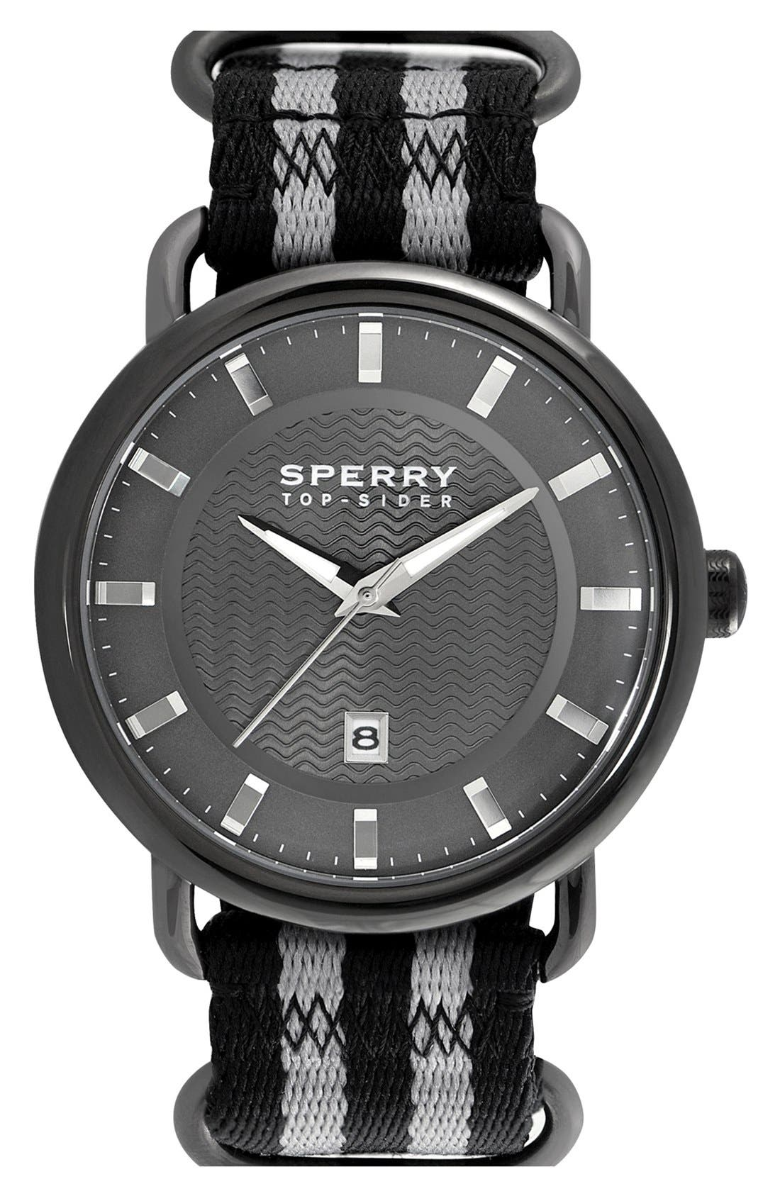 Alternate Image 1 Selected - Sperry Top-Sider® 'Striper' Round Nylon Strap Watch, 45mm