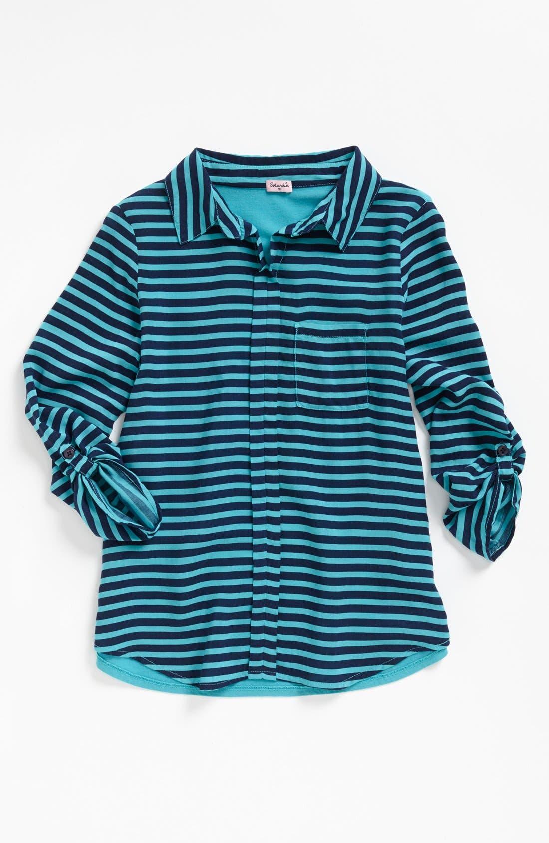 Alternate Image 1 Selected - Splendid Stripe Rugby Shirt (Big Girls)