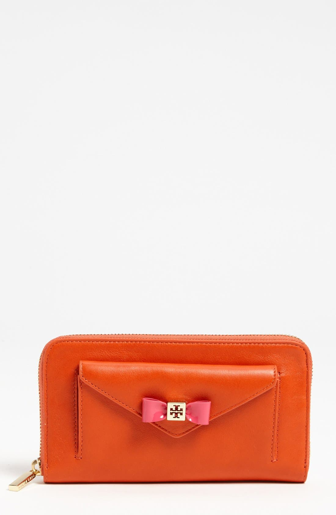 Alternate Image 1 Selected - Tory Burch 'Bow' Leather Zip Wallet