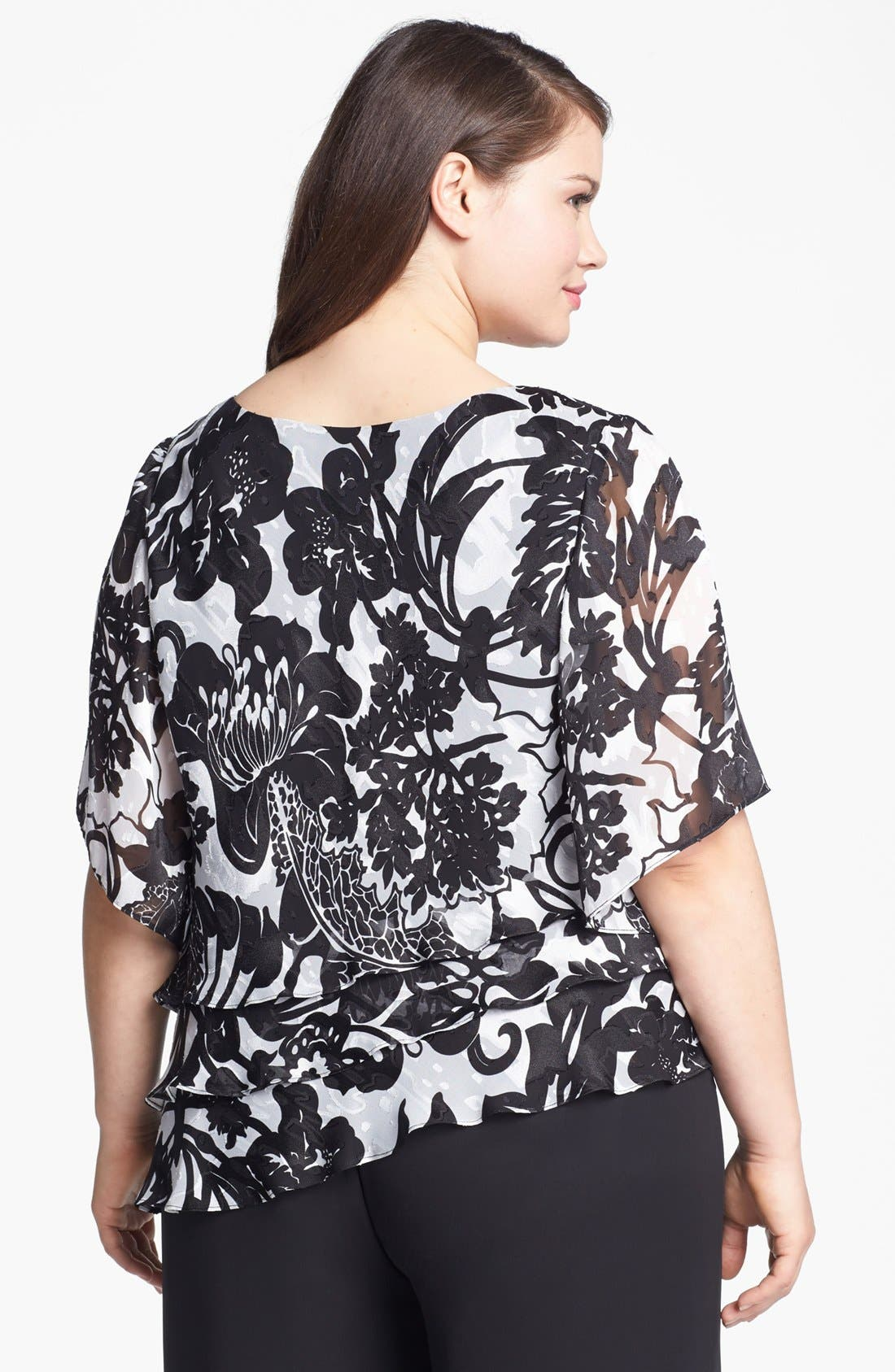 Alternate Image 2  - Alex Evenings Print Tiered Blouse (Plus Size)