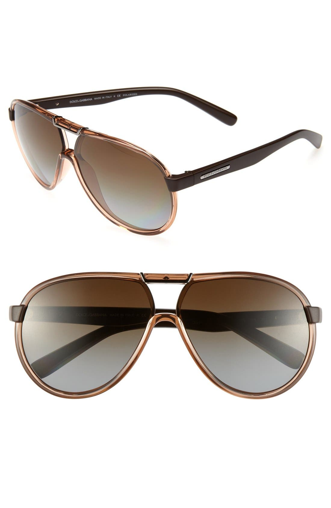 Main Image - Dolce&Gabbana 63mm Polarized Brow Bar Sunglasses