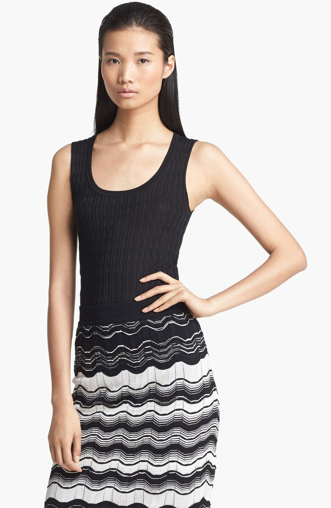 Alternate Image 1 Selected - M Missoni Tonal Zigzag Stitch Tank