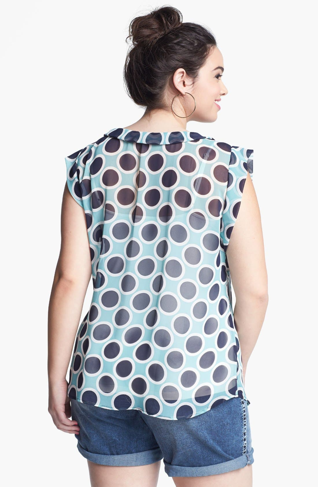 Alternate Image 2  - Pleione Print Sheer Chiffon Top (Plus Size)
