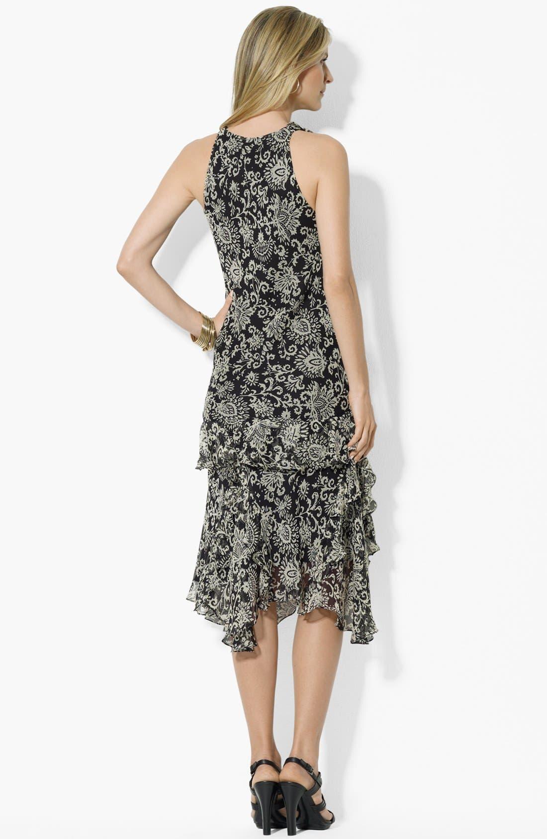 Alternate Image 2  - Lauren Ralph Lauren Ruffled V-Neck Dress (Petite)
