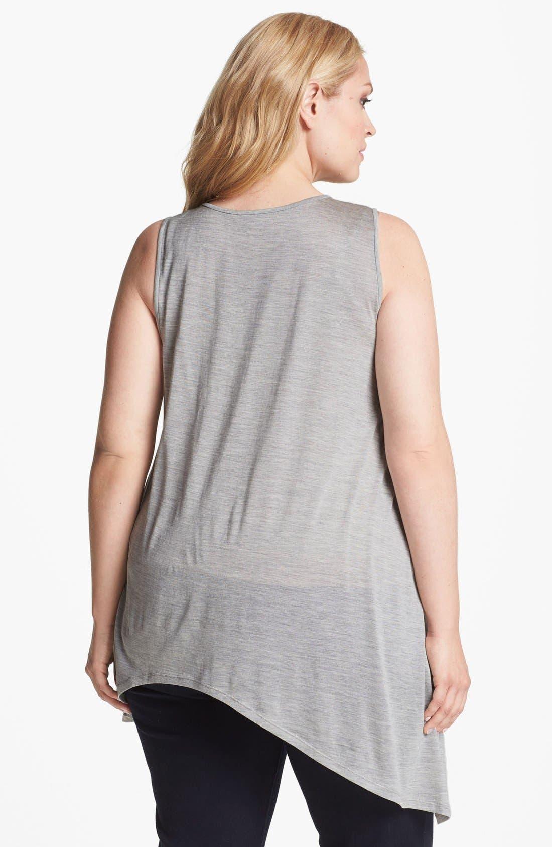 Alternate Image 2  - Eileen Fisher Asymmetrical Silk Blend Tank (Plus Size)
