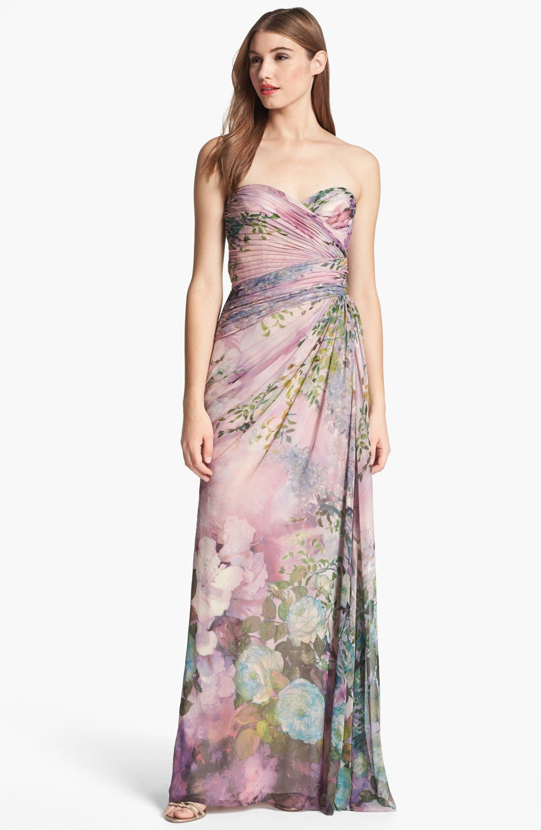 Alternate Image 1 Selected - Adrianna Papell Print Strapless Chiffon Gown