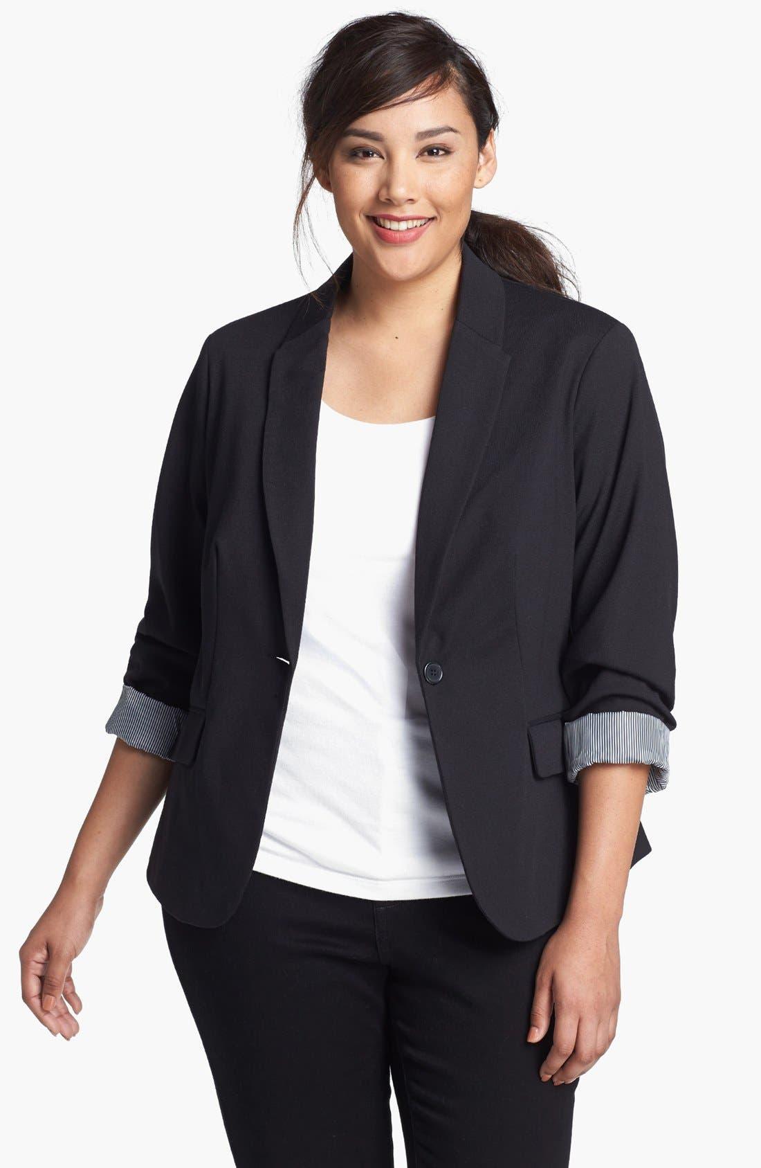 Alternate Image 1 Selected - Evans Single Button Blazer (Plus Size)