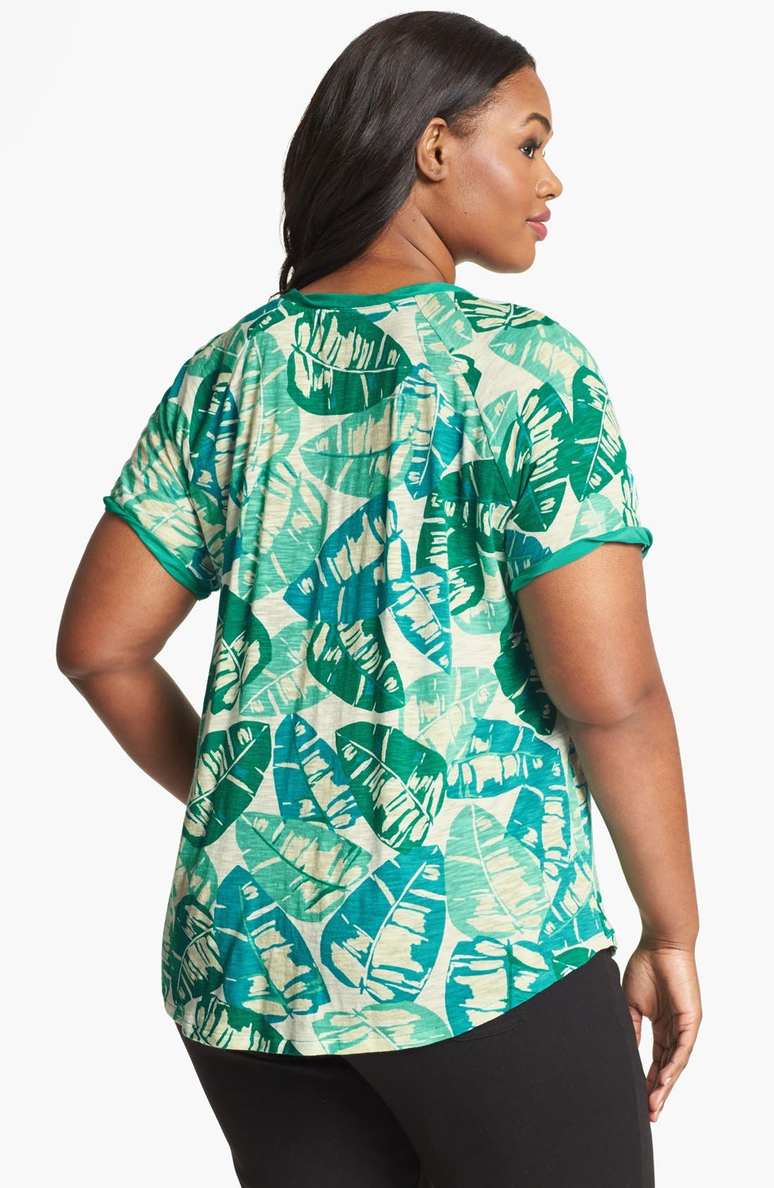 Alternate Image 2  - Lucky Brand 'Kaylee' Palm Print Top (Plus Size)