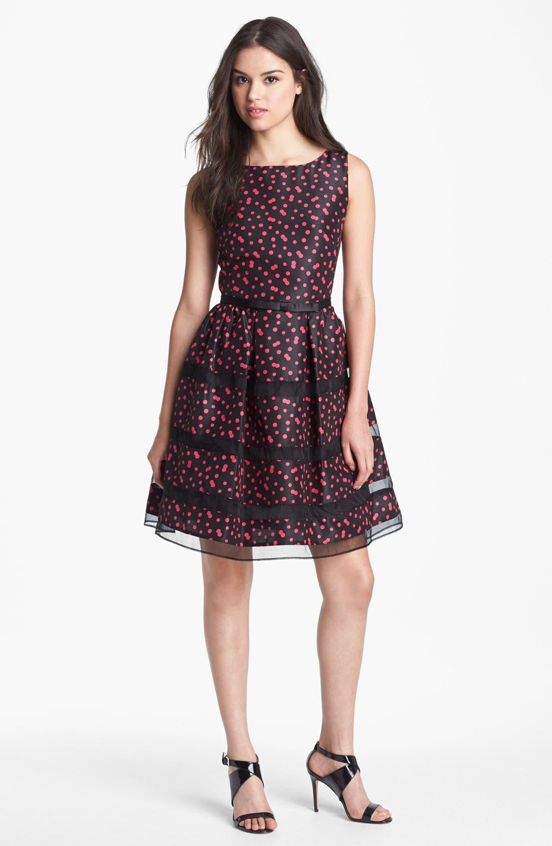 Alternate Image 1 Selected - Taylor Dresses Belted Taffeta Fit & Flare Dress