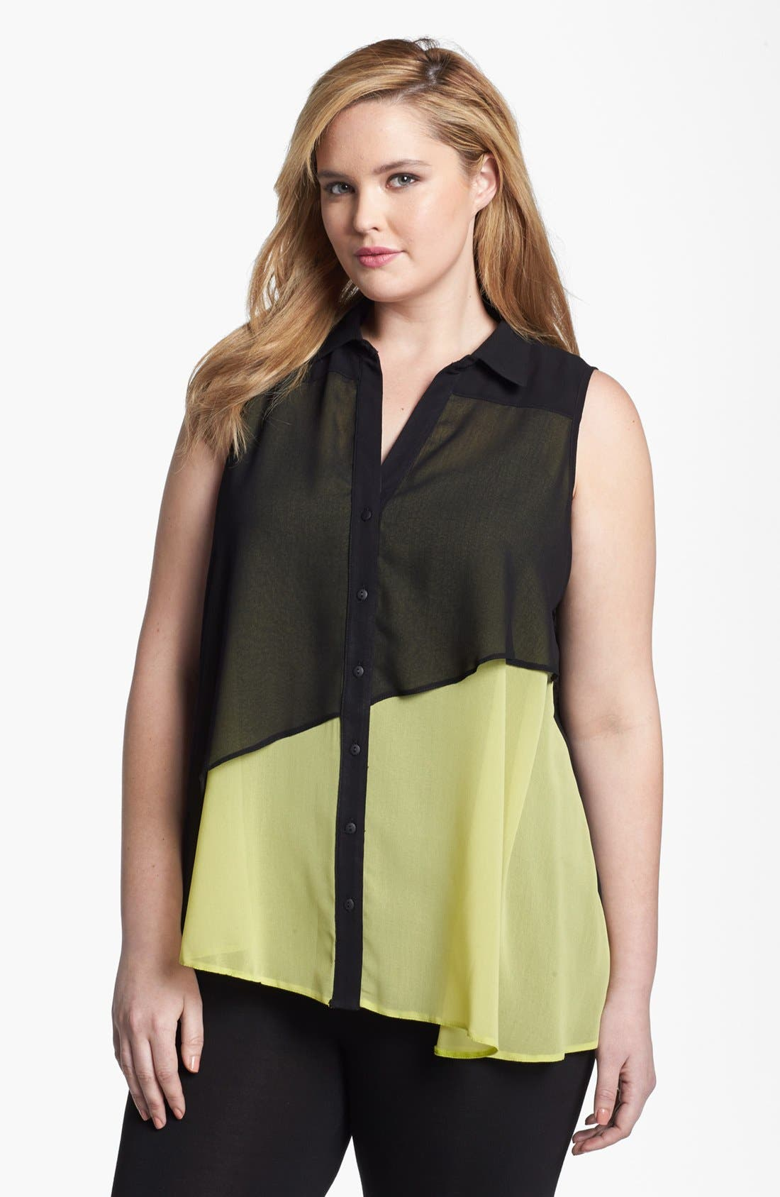 Main Image - Evans Sleeveless Layered Chiffon Blouse (Plus Size)