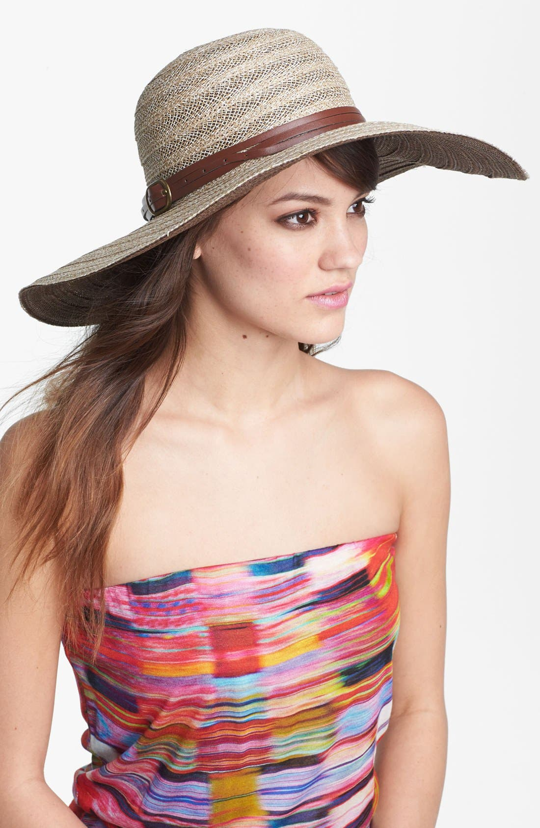 Main Image - Nordstrom Belted Straw Floppy Hat