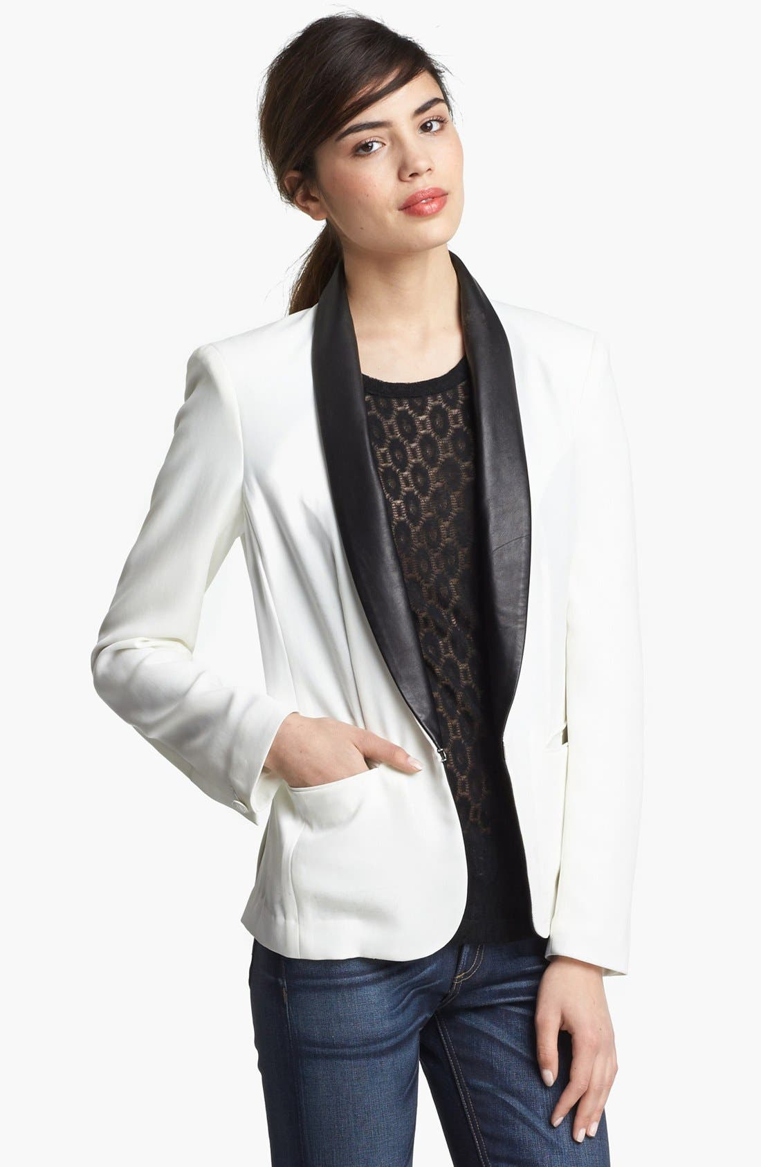 Main Image - rag & bone Leather Trim Tuxedo Jacket