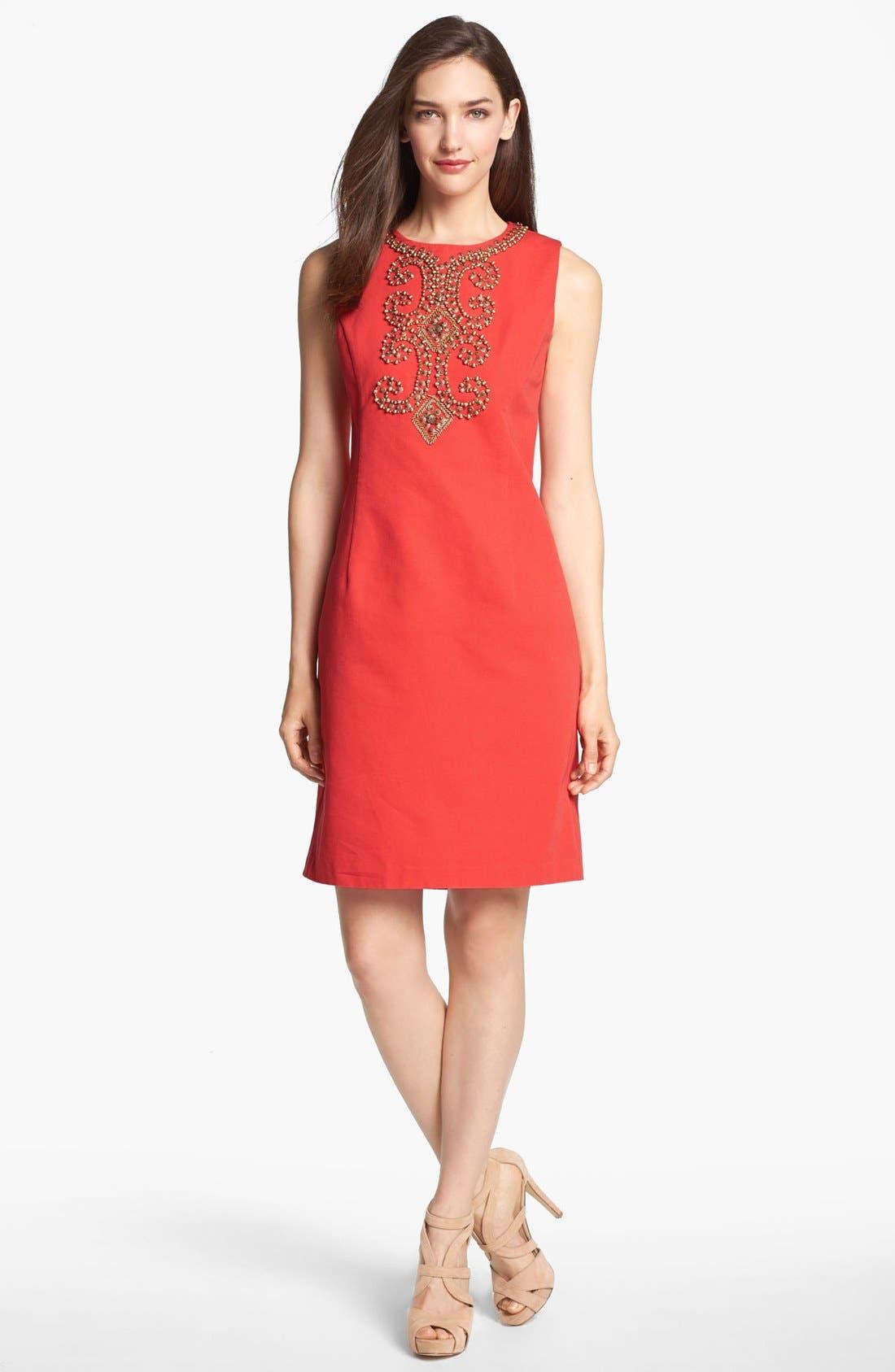 Main Image - Ellen Tracy Embellished Sleeveless Sheath Dress