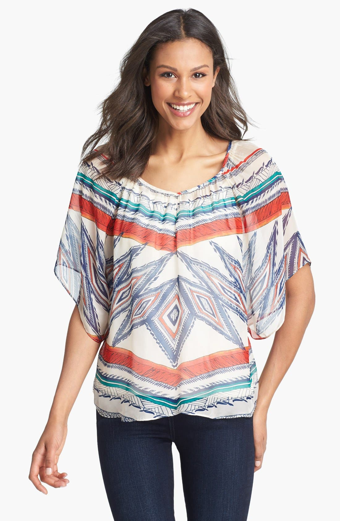 Alternate Image 1 Selected - Lucky Brand 'Sardinia' Print Peasant Top