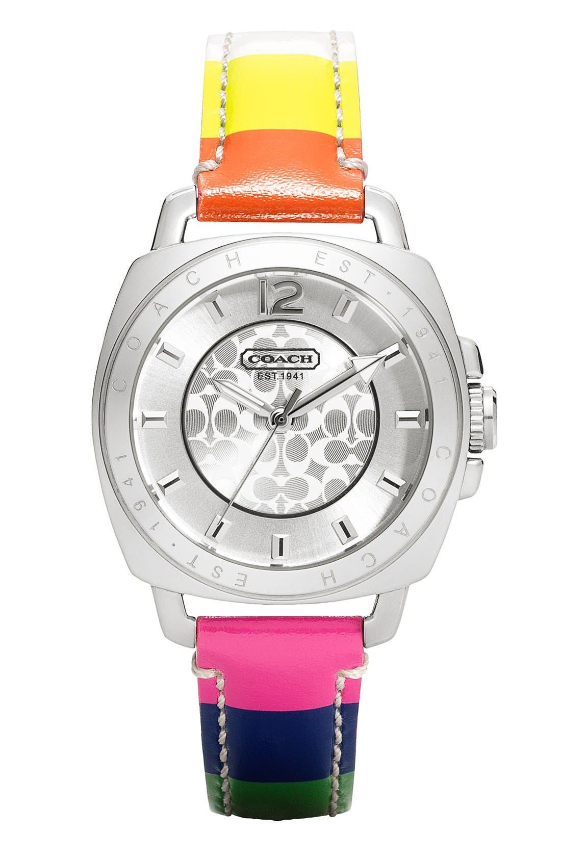 Main Image - COACH 'Boyfriend' Leather Strap Watch, 35mm