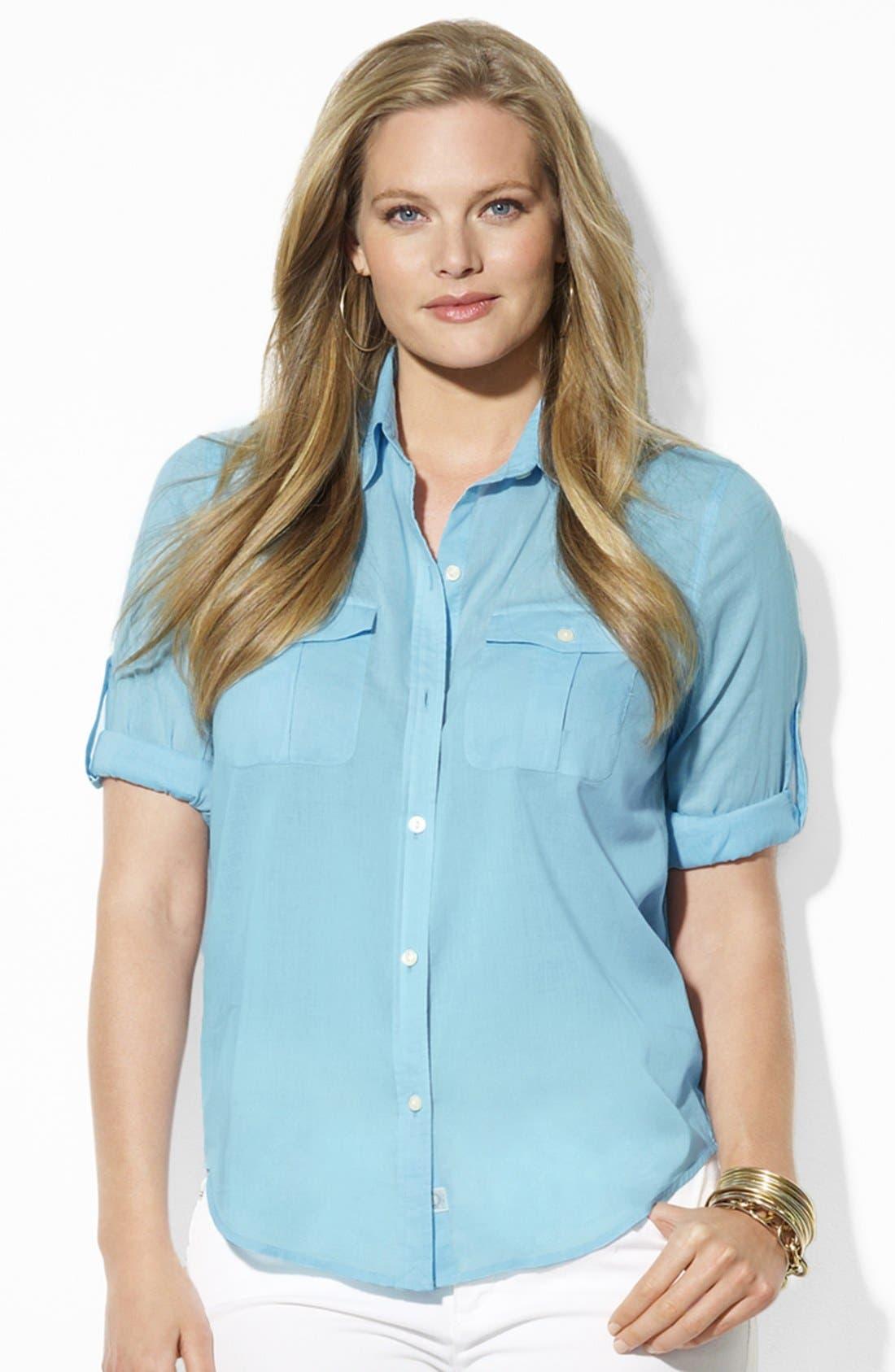 Main Image - Lauren Ralph Lauren Cotton Work Shirt (Plus Size)