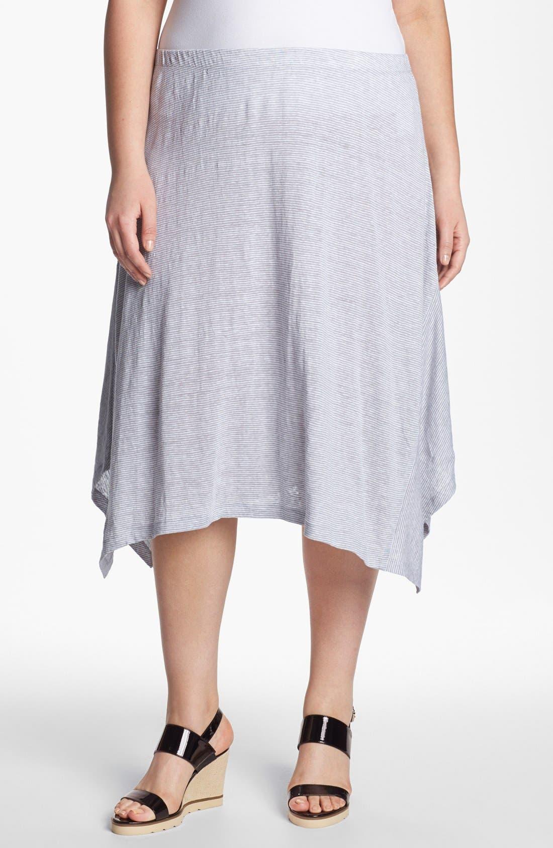 Alternate Image 1 Selected - Eileen Fisher Stripe Linen Skirt (Plus Size)