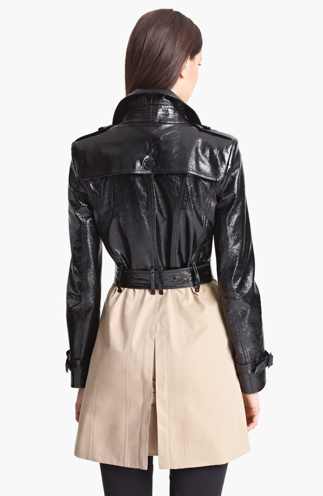 Alternate Image 2  - Burberry London Belted Patent Leather & Gabardine Trench