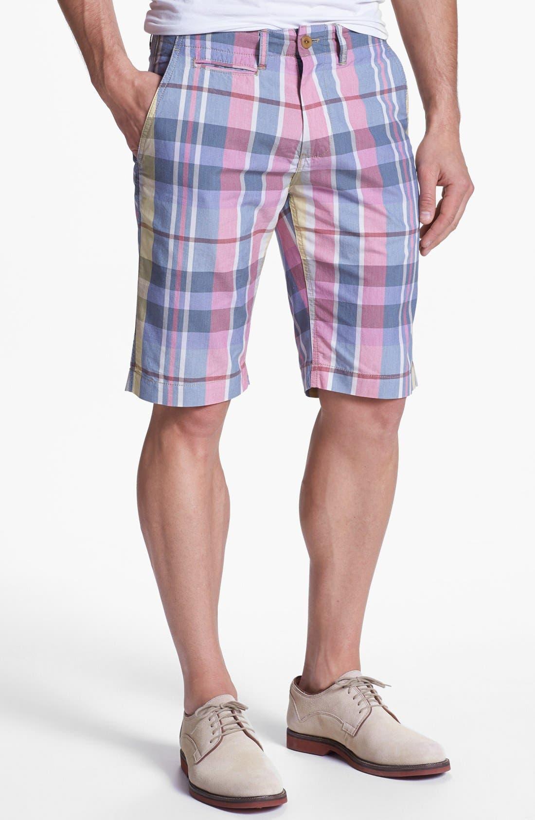 Main Image - Façonnable Tailored Denim Plaid Bermuda Shorts