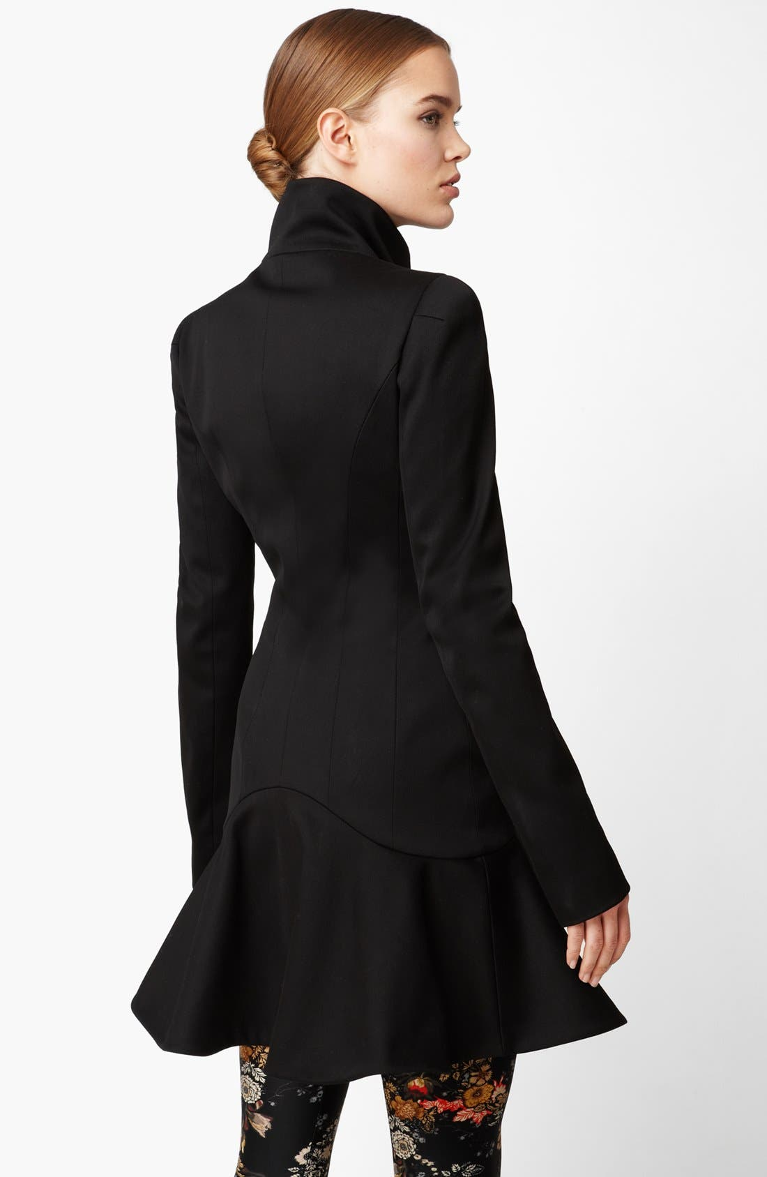 Alternate Image 2  - Alexander McQueen Funnel Neck Stretch Cotton Coat