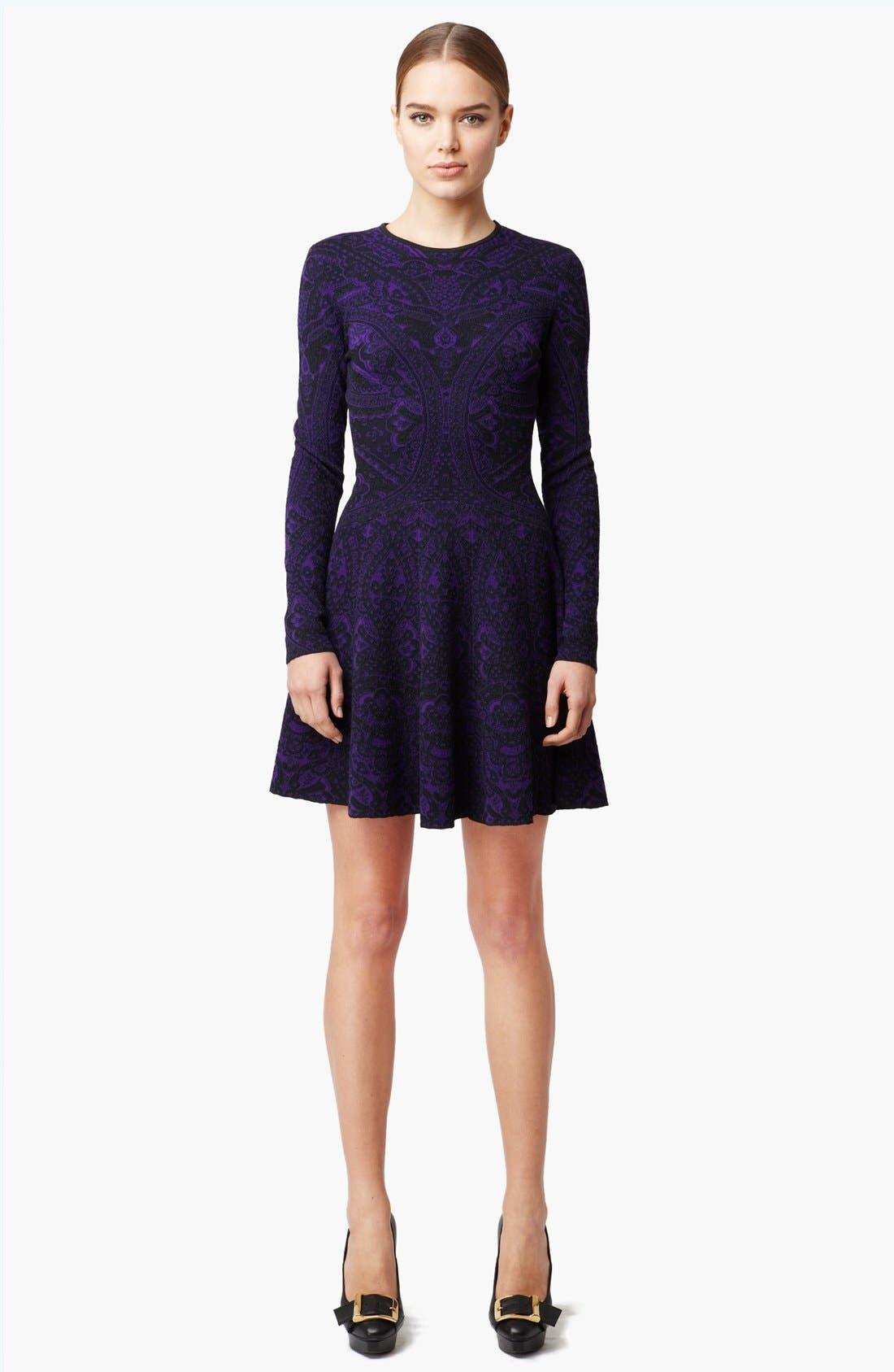 Alternate Image 1 Selected - Alexander McQueen Full Skirt Intarsia Knit Dress