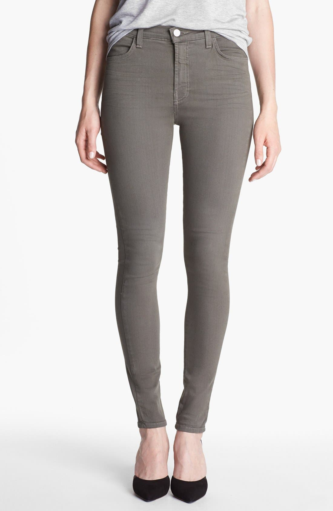 Alternate Image 1 Selected - J Brand 'Maria' High Waist Skinny Stretch Jeans (Washed Mantis)