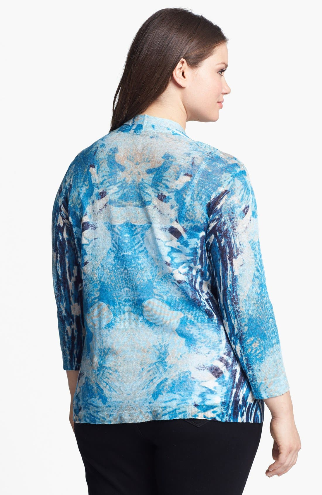 Alternate Image 2  - Nic + Zoe 'High Tide' Print Cardigan (Plus Size)