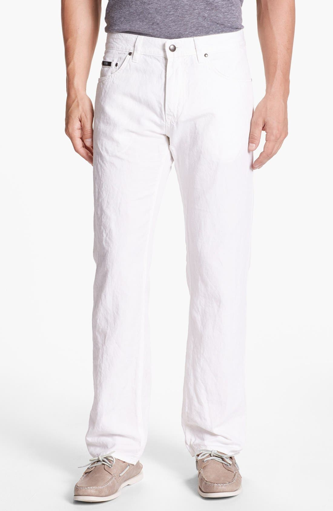 Main Image - BOSS HUGO BOSS 'Maine' Five Pocket Cotton & Linen Pants