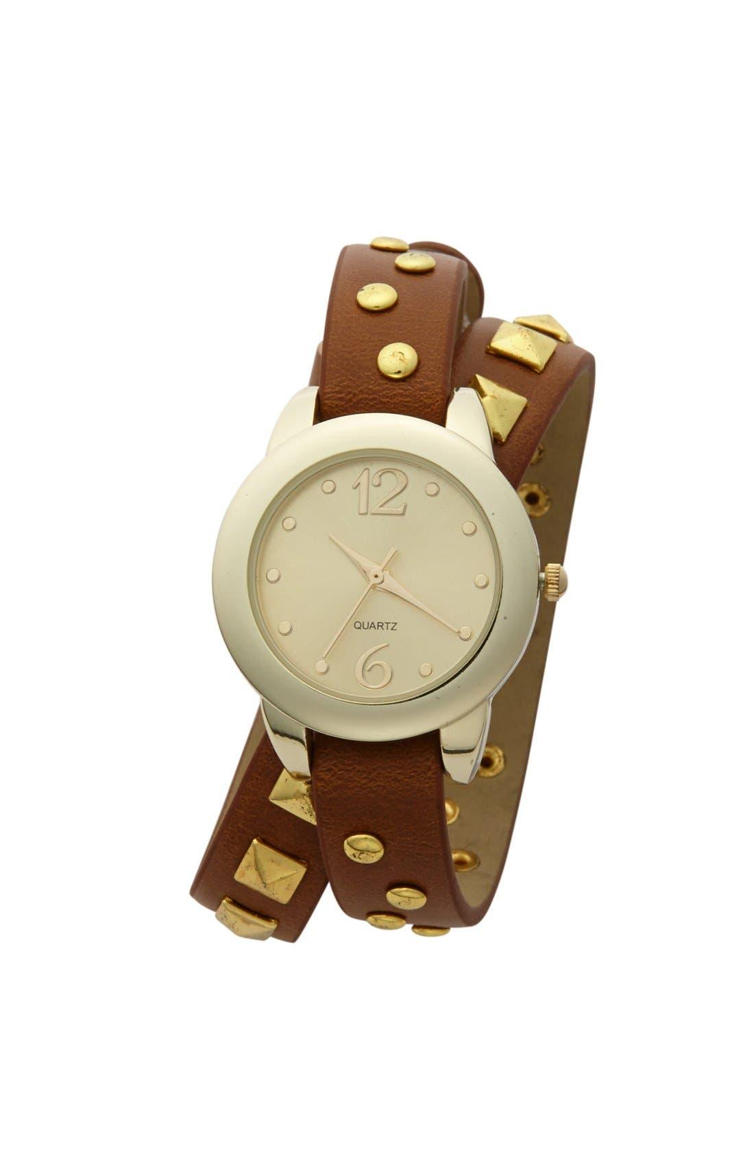 Main Image - Titanium Studded Wrap Watch, 30mm (Juniors) (Online Only)