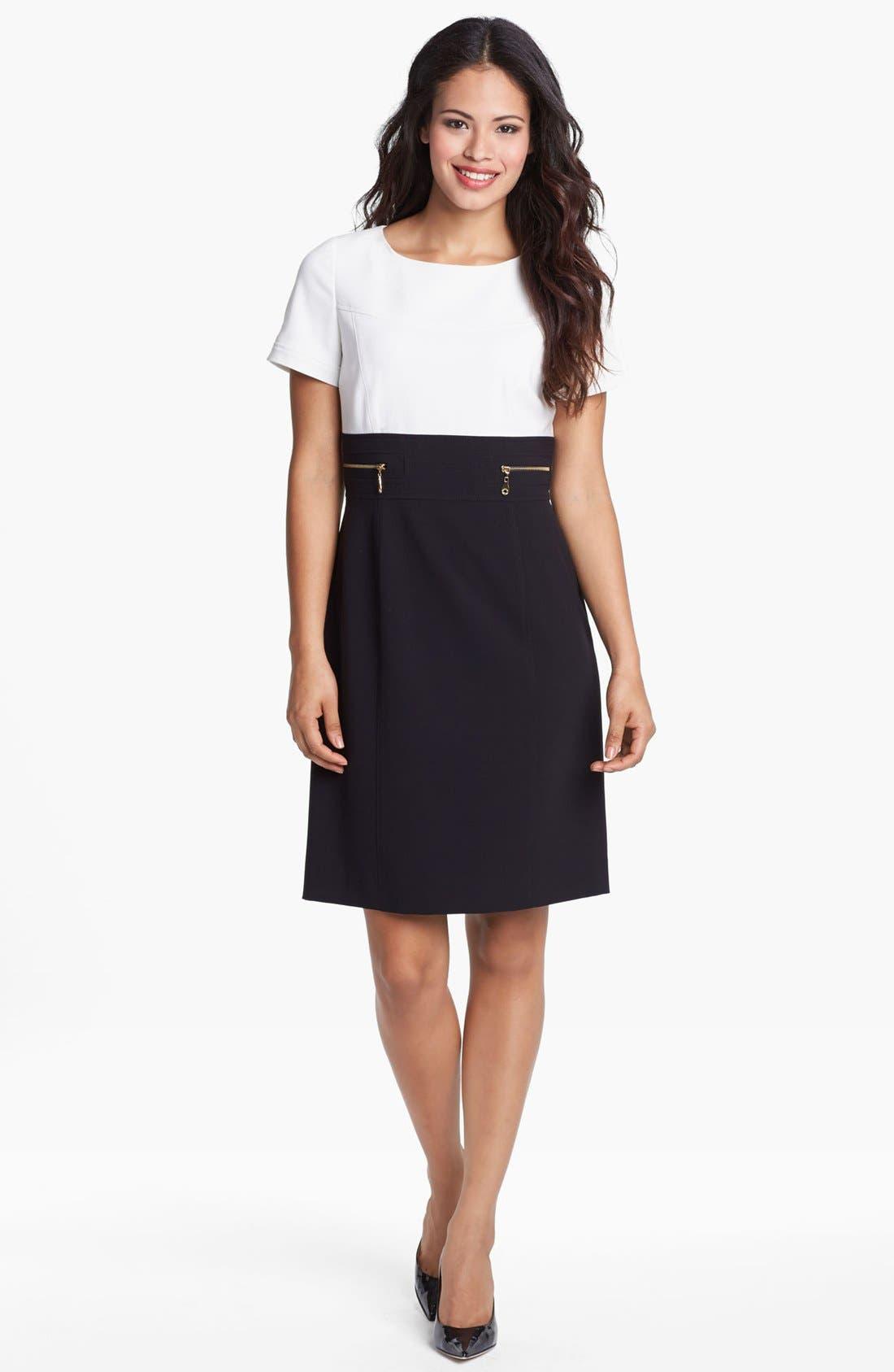 Alternate Image 1 Selected - Tahari Short Sleeve Stretch Sheath Dress (Regular & Petite)