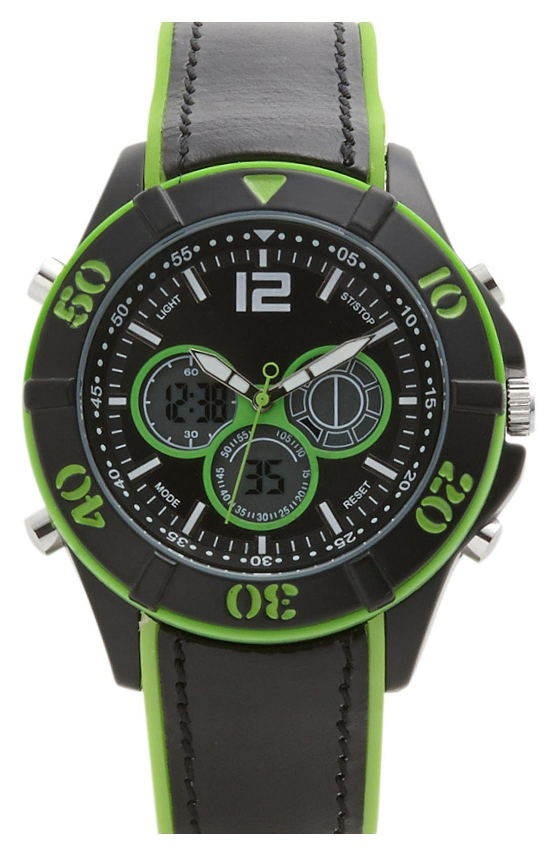 Main Image - ACCUTIME Dual Function Silicone Strap Watch, 47mm