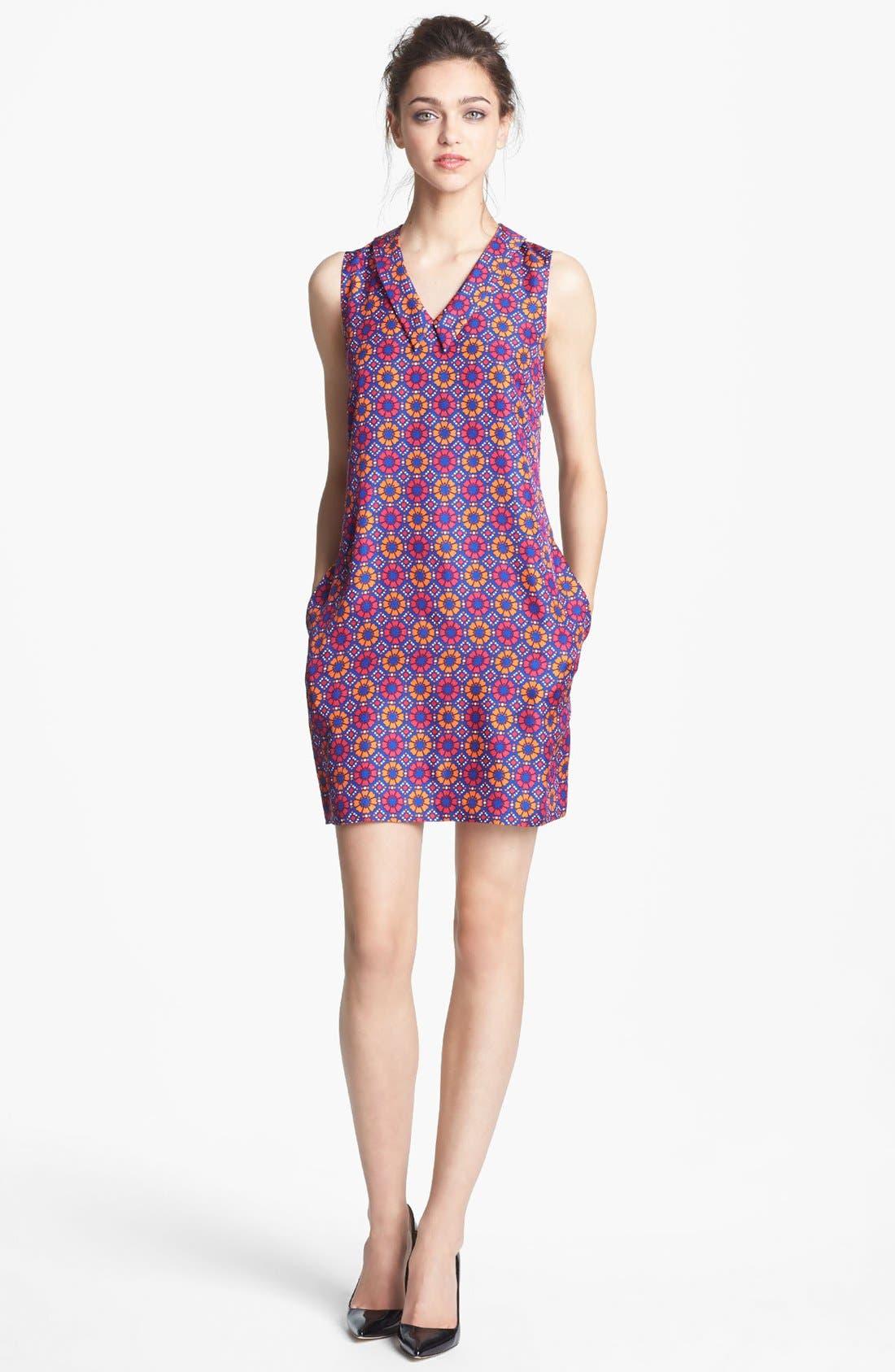 Main Image - Miss Wu Geo Tile Print Silk Dress (Nordstrom Exclusive)