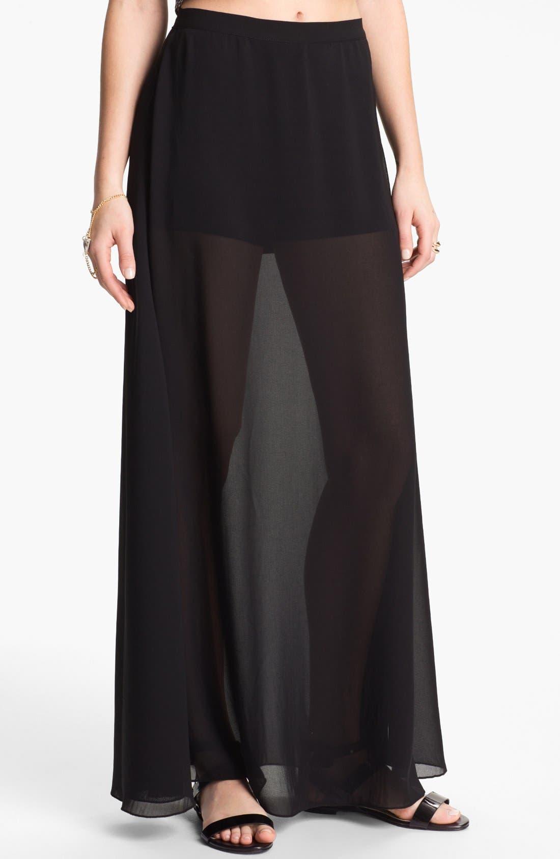 Alternate Image 1 Selected - Mimi Chica Sheer Chiffon Maxi Skirt (Juniors)