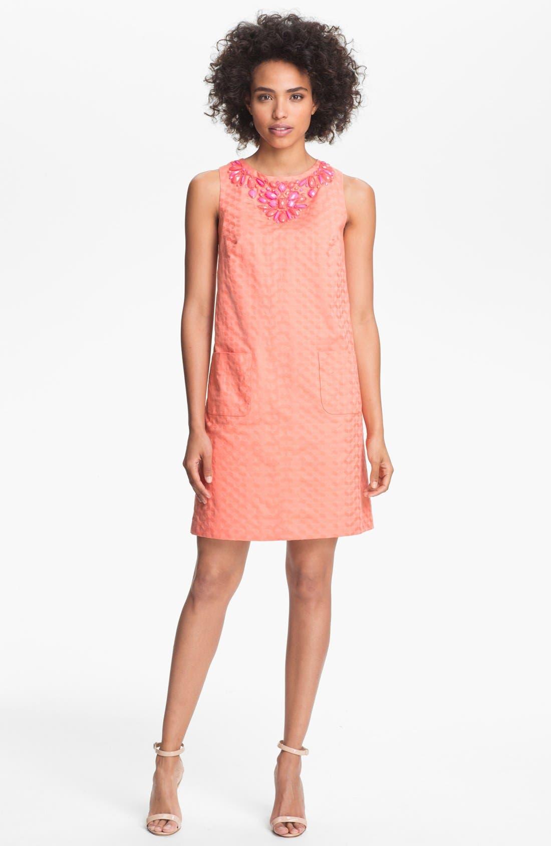 Main Image - Donna Morgan Embellished Shift Dress (Petite)