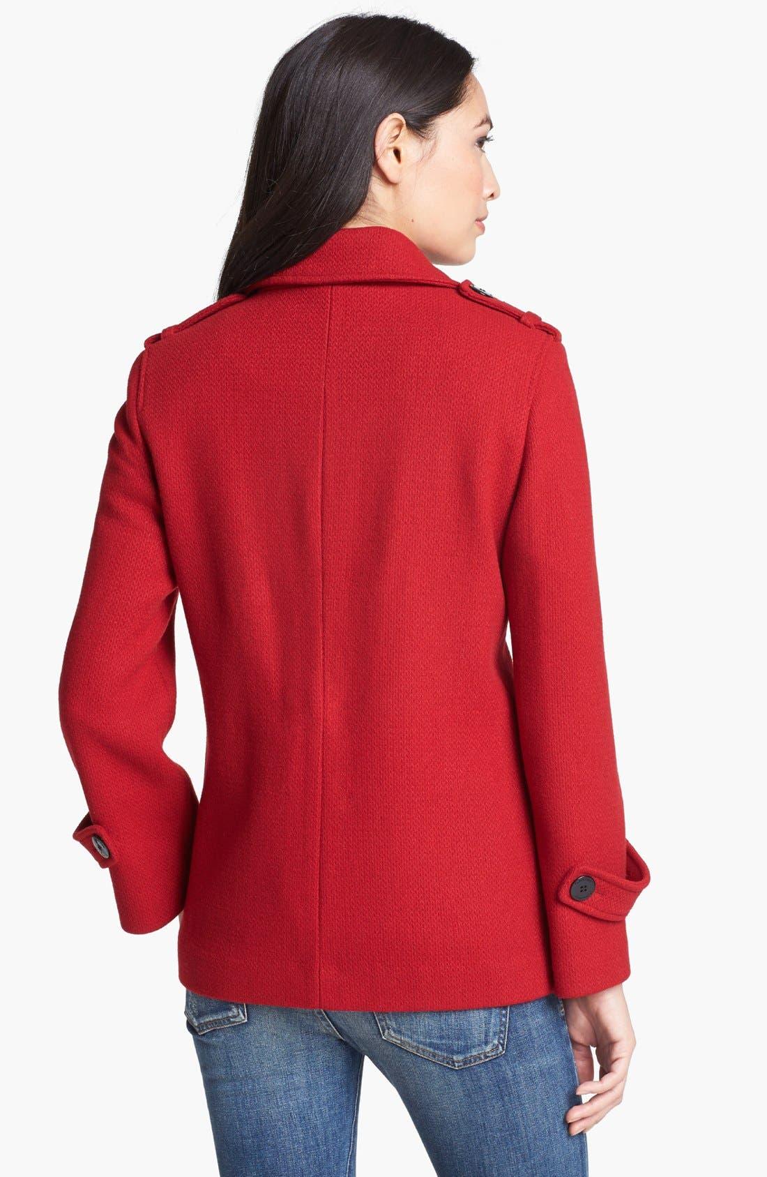 Alternate Image 2  - Calvin Klein Textured Wool Blend Peacoat