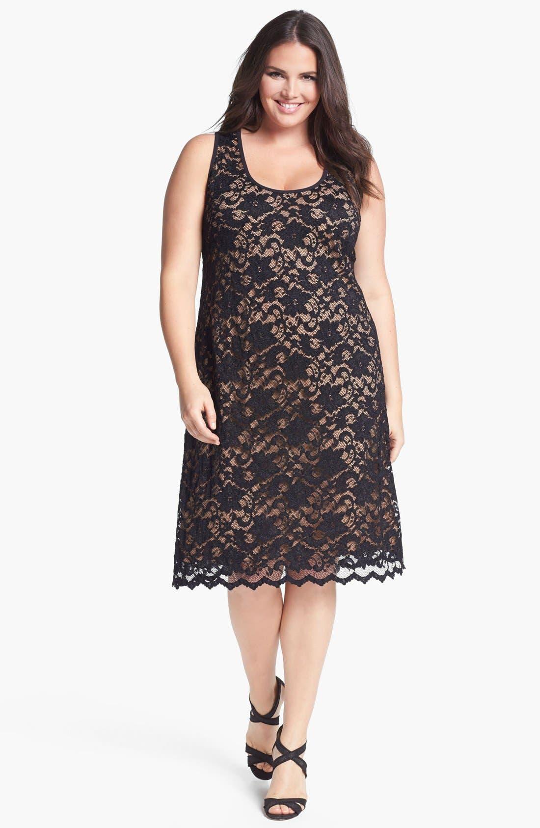 Alternate Image 1 Selected - Karen Kane Lace Tank Dress (Plus Size)