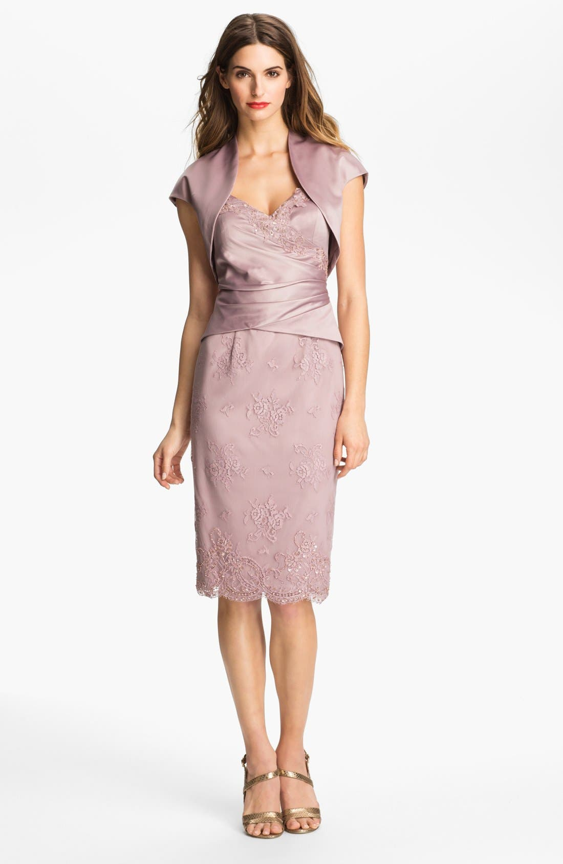 Main Image - Adrianna Papell Embellished Satin Dress & Bolero (Petite)