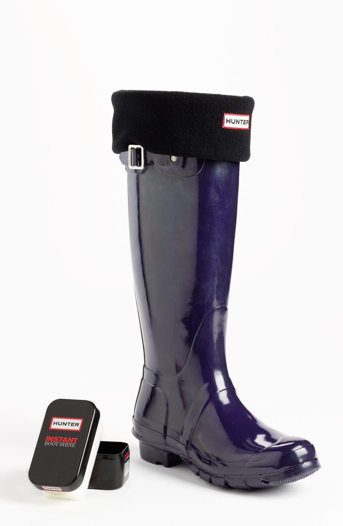Hunter 'Original Tall' Gloss Rain Boot, Fleece Welly Socks & Instant Boot Shine Sponge