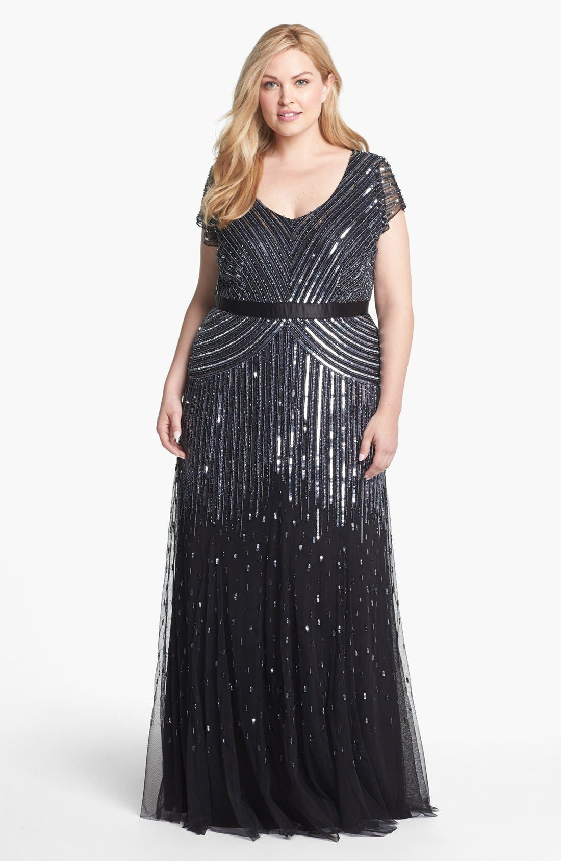 Alternate Image 1 Selected - Adrianna Papell Sequin Mesh Gown (Plus Size)