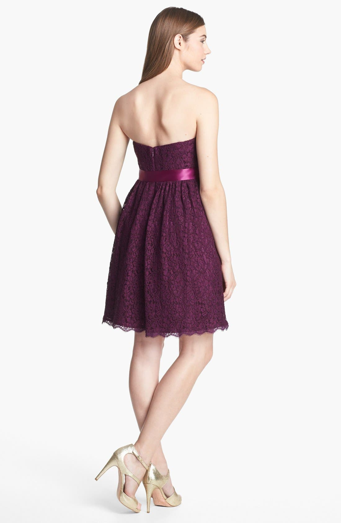 Alternate Image 2  - Adrianna Papell Strapless Lace Fit & Flare Dress