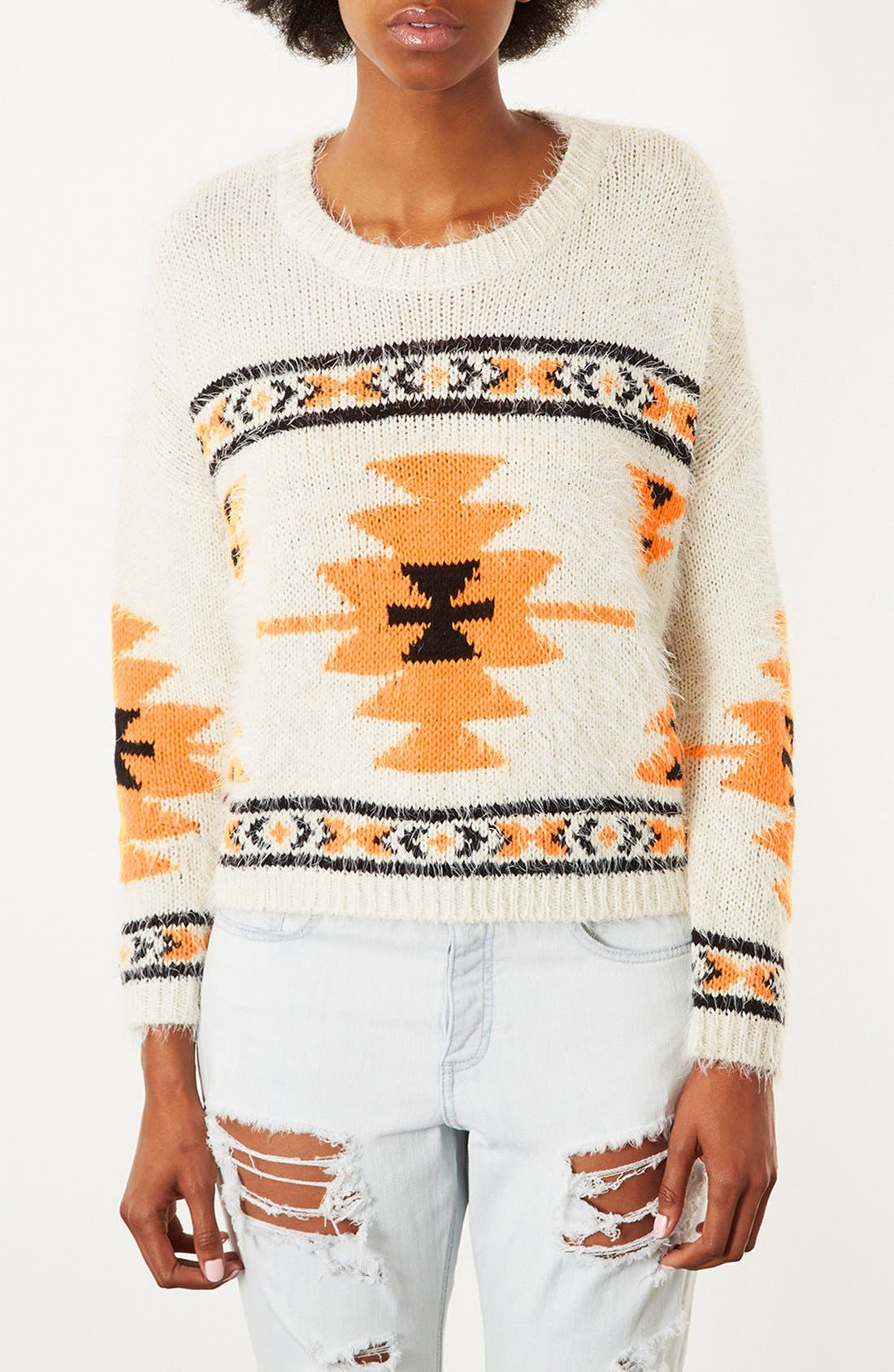 Alternate Image 1 Selected - Topshop Geometric Print Sweater