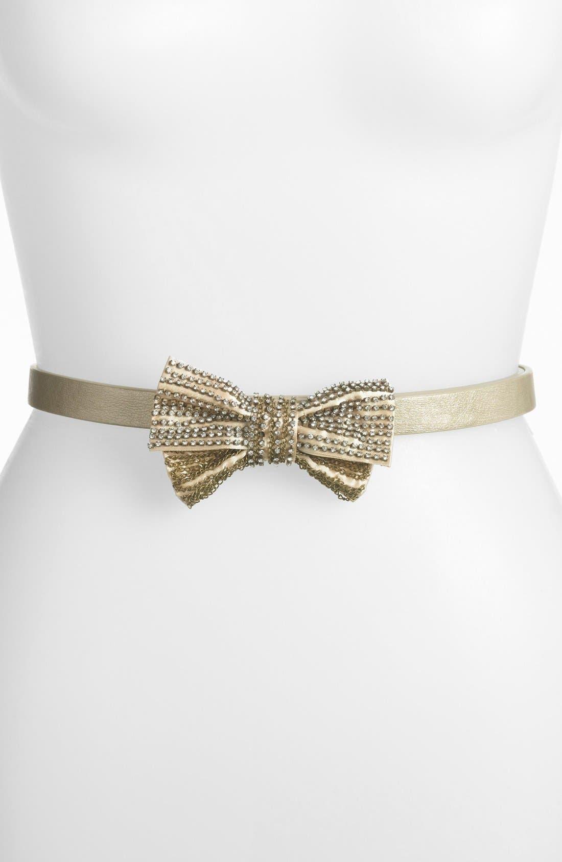 Main Image - Tarnish 'Skinny Sparkle' Bow Belt