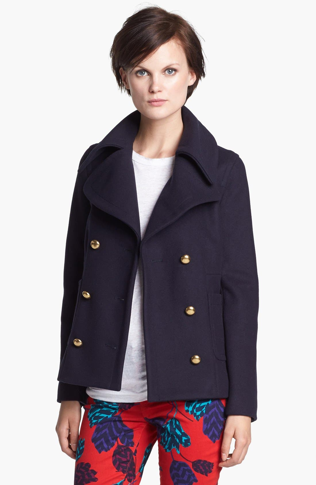Main Image - MARC BY MARC JACOBS 'Nicoletta' Wool Blend Peacoat