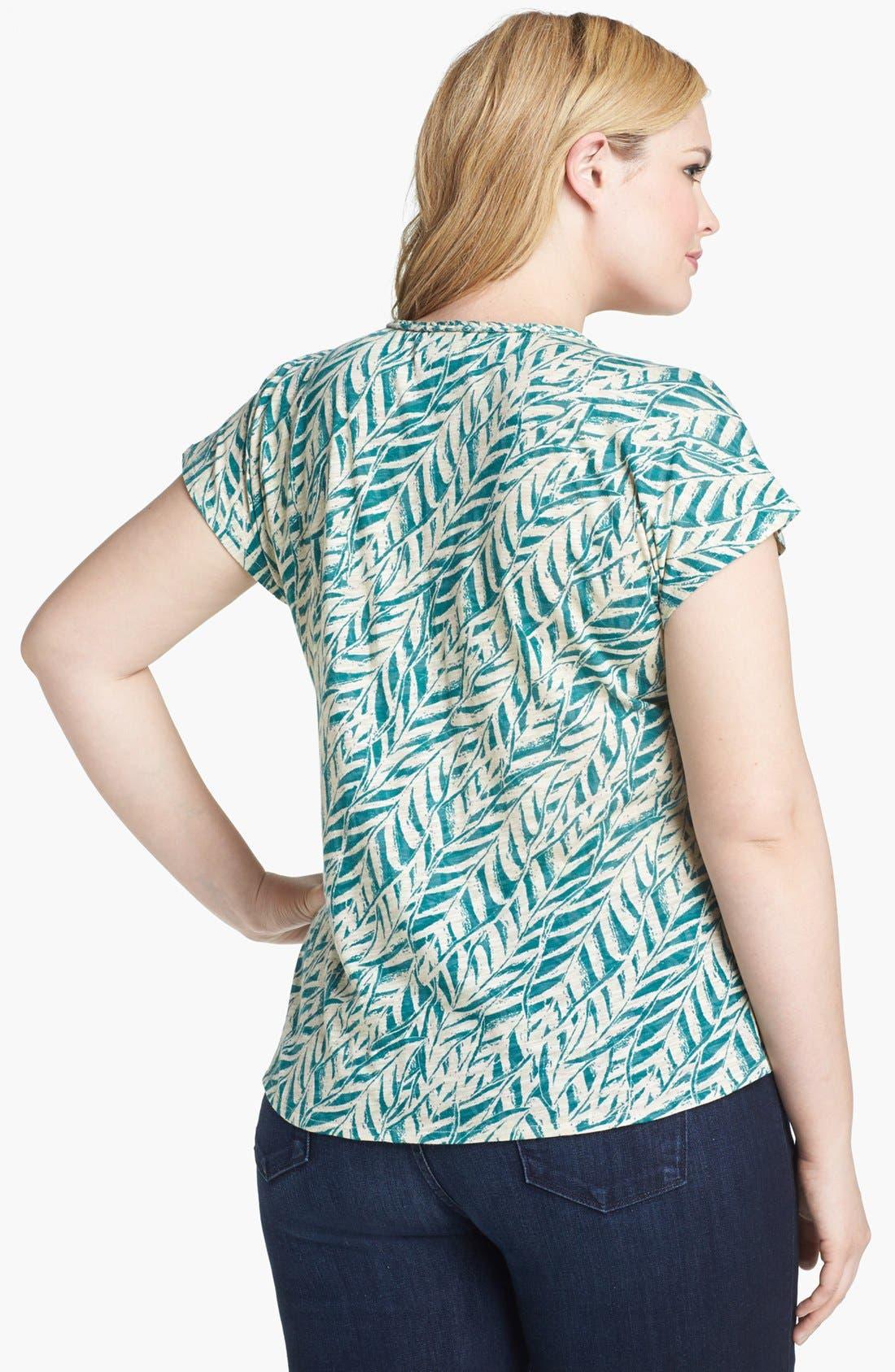 Alternate Image 2  - Lucky Brand 'Myra' Tropical Print Top (Plus Size)