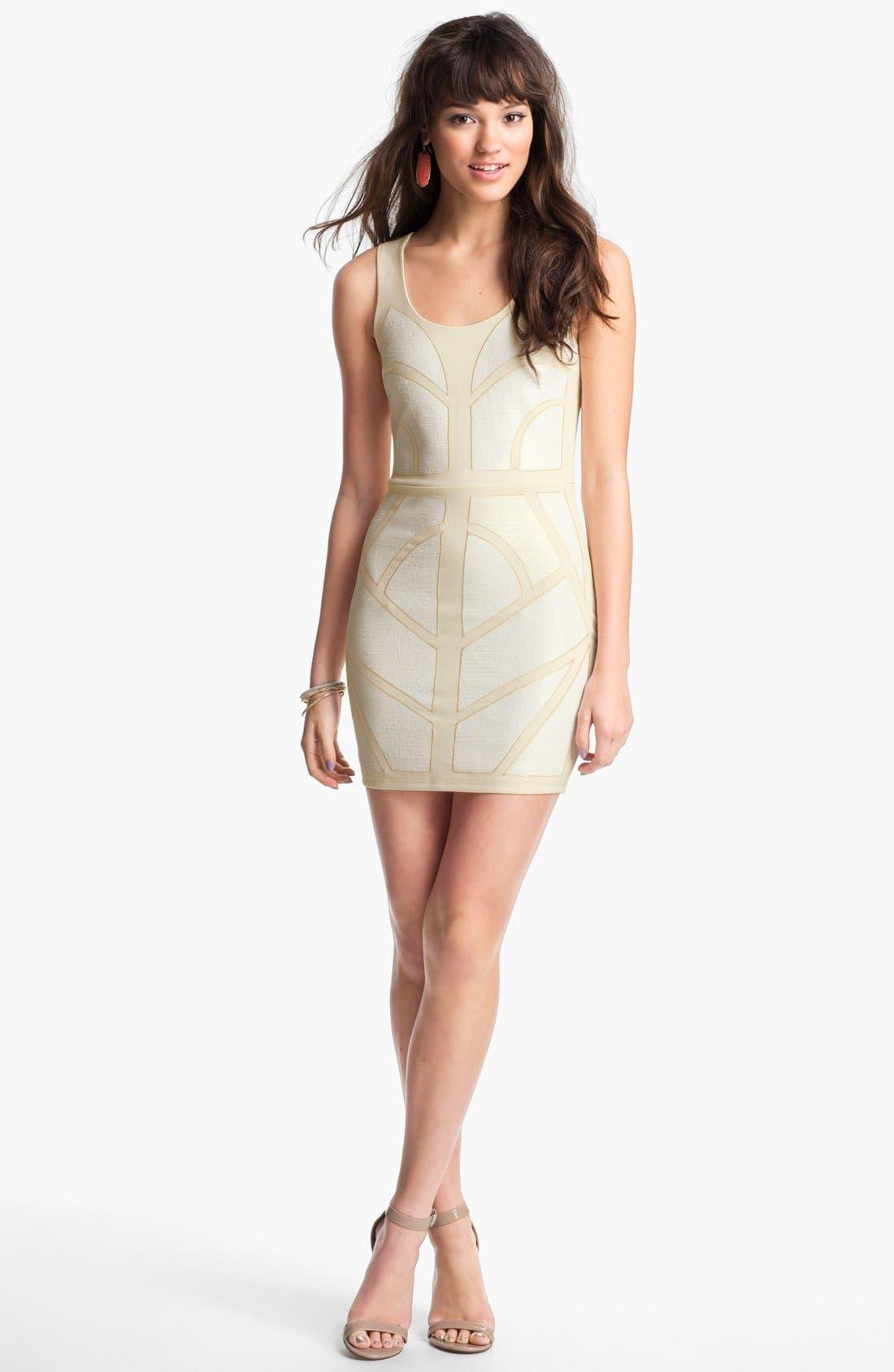Alternate Image 1 Selected - En Crème Sequin Panel Body-Con Dress (Juniors)