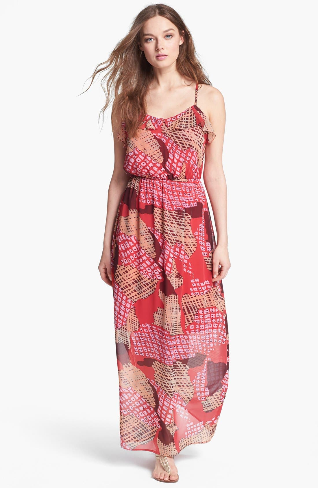 Alternate Image 1 Selected - Collective Concepts Ruffled Print Maxi Dress
