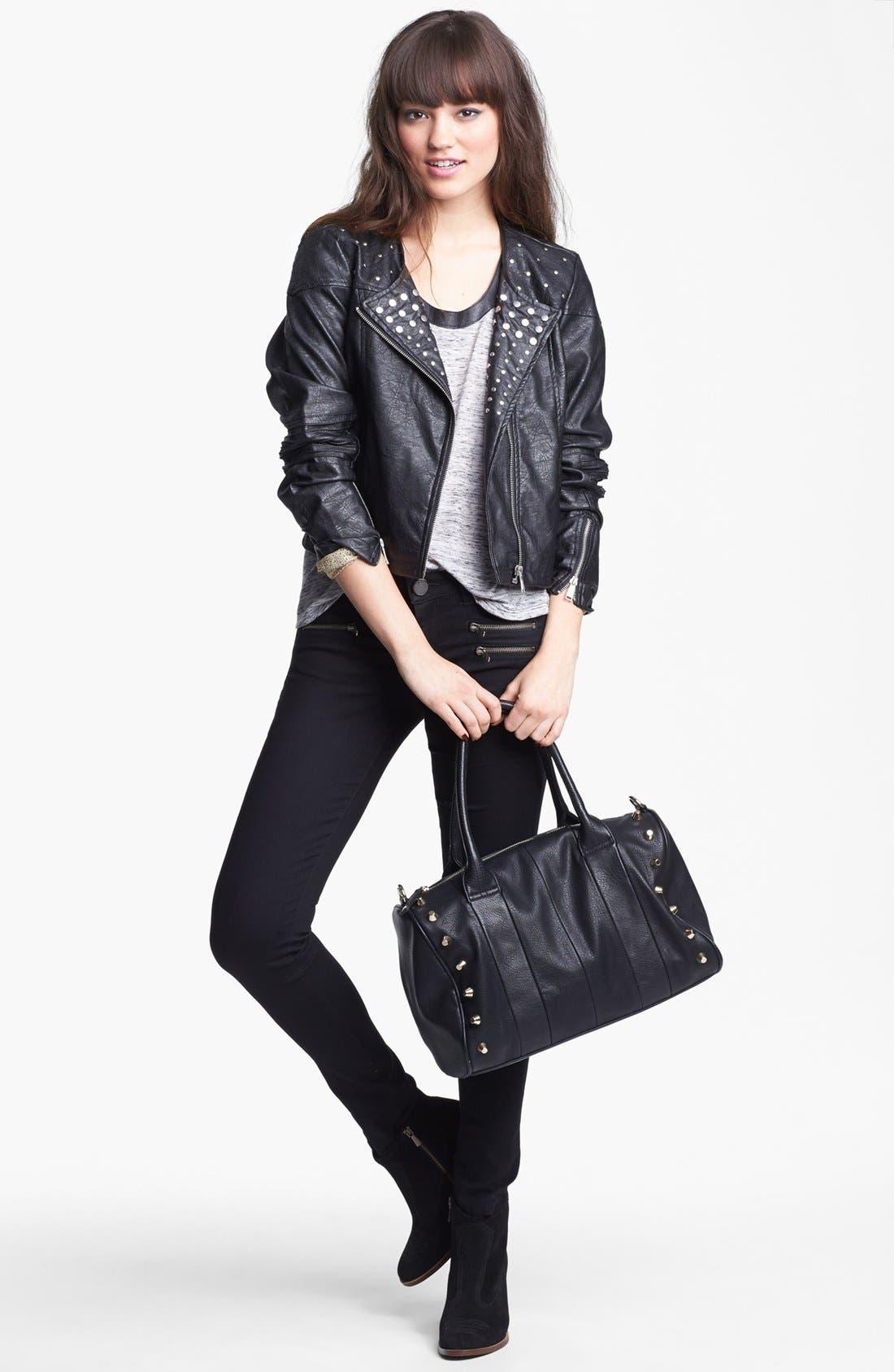 Alternate Image 2  - Jou Jou Studded Faux Leather Crop Moto Jacket (Juniors)